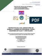 Instructivo de normas de seguridad del curso de Química 3 de la Universidad de San Carlos de Guatemala