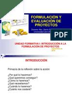 INICIO A LA FORMULACION Y EVALUACION DE PROYECTO