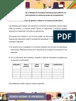 Evidencia Informe Determinar Indicadores Gestion Utilizados en Empresa Donde Labora