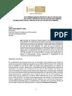 Ponencia Primer Debate PL 206, 243 Ny 323 Acumulados CARS