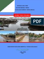 Zonas críticas a peligros geológicos - Región Loreto
