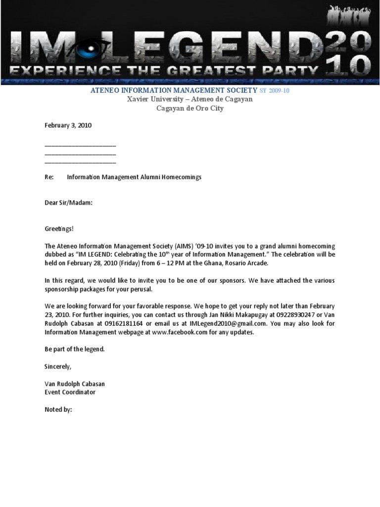 Alumni Sponsorship Letter  Letter Sponsorship