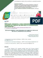 EDUCAÇÃO AMBIENTAL COMO FERRAMENTA DE COMBATE AO TRÁFICO DE RÉPTEIS E À CONSERVAÇÃO DAS ESPÉCIES_