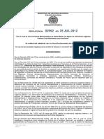 Resolución No. 02592 Del 250212 MESAN