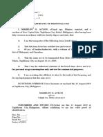 Affidavit of Personal Use - Lumber