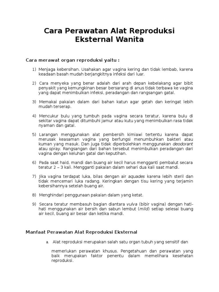 Cara Perawatan Alat Reproduksi Eksternal Wanita