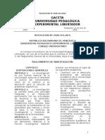 UPEL Reglamento de estudios de postgrado