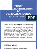 From Critical Thinking to Critical Writing