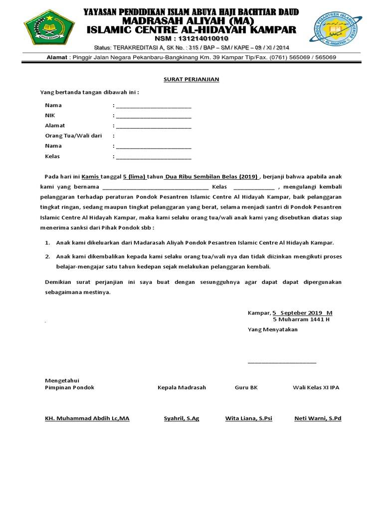 Contoh Surat Pernyataan Wali Santri - Kumpulan Contoh ...