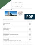 Embankment Price List Philippines _ PHILCON PRICES