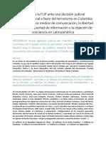Solicitud a La FLIP en La Dictadura Judicial a Favor Del Terrorismo en Colombia y en Contra de Los Medios de Comunicación