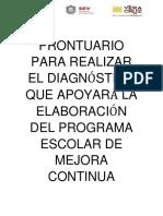 Prontuario de Apoyo Para Realizar El Diagnóstico Que Apoya La Elaboración Del Programa Escolar de Mejora Continua