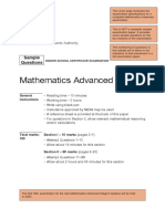 Mathematics Advanced Sample Examination Materials 2020