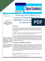 Estructura de la Oferta y el Acceso al Financiamiento de las MIPYME´S en El Salvador