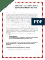 Las Bases Psicológicas Para El Desarrollo Matemático en El Pensamiento Del Niño