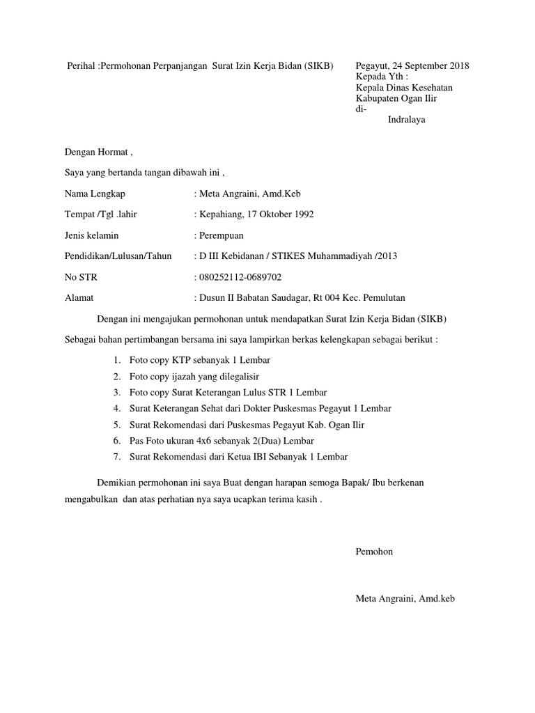 Contoh Permohonan Surat Izin Kerja Bidan