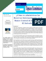 ¿Cómo se administran las Reservas Internacionales en el  Banco Central de Reserva de El Salvador?