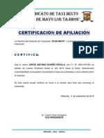 Certificacion de Moto Taxis 29 de Mayo Los Tajibos