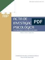Acta de Investigación Psicológica (Psychological Research Records) Vol 3 (2) Ago 2013 -Fac Psicología, UNAM.pdf