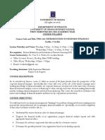 FINC 301 Course Syllabus 2019-2020