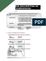 Memoria de Subdivision Predio Levantado - (1)