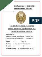 Caratula de Informe Fisica 3 Fuerza Electromotriz y Resist Variable