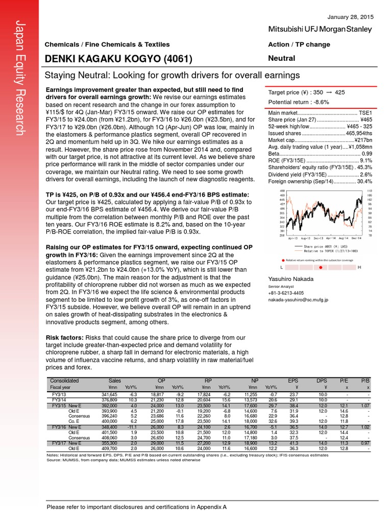Denki Kagaku Kogyo 4061 Staying Neutral Looking For Growth Drivers For Overall Earnings Earnings Before Interest Investing