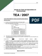 TEA 2007 - PROVA PARA OBTEN+çAO TEA - 2007