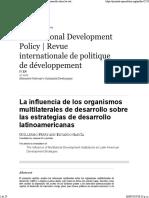 La Influencia de Los Organismos Multilaterales de Desarrollo Sobre Las Estrategias de Desarrollo Latinoamericanas