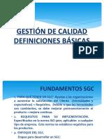 DEFINICIONES BÁSICAS GESTIÓN DE CALIDAD