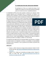 ENSAYO SOBRE EL CÓDIGO DE ETICA DEL PSICÓLOGO PERUANO