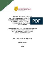 Estilo_PonceGago_Lily Estilos de Liderazgo en Estudiantes de Una Universidad TABLA CARCTERISTICAS DEL LIDERAZGO