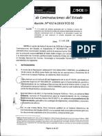 RESOLUCION N°574-2019-TCE-S2 (APLICACION SANCION)