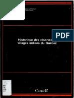 Historique des réserves et villages indiens du Québec