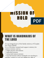 Talk 11   Life and Mission of  HOLD.ppt