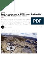 Perú Presenta Ante La ONU 4 Casos de Violación de DD.hh. de Empresas Chinas