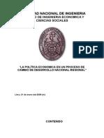 Política Economica en Un Proceso de Cambio de Desarrollo Nacional-regional