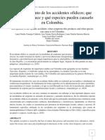 Reconocimiento de los accidentes ofídicos; que síntomas produce y qué especies pueden causarlo en Colombia.