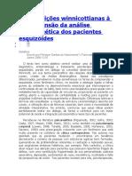Contribuições Winnicottianas à Compreensão Da Análise Bioenergética Dos Pacientes Esquizóides