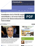 2015-07-29 Estudiantes USACH Emplazana Autoridades a Definir Proceso de Democratizacion Interna