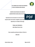 Importancia de La Innovación en El Arte de La Taxidermia Como Empresa Dentro Del Turismo Cinegético (Caza Responsable y Pesca Deportiva) en El Estado de Durango