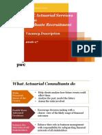PwC Actuarial Services India - Vacancy Description