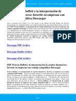 Warren Buffett y La Interpretacion de Estados Financieros Invertir en Empresas Con Ventaja Competitiva