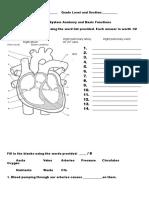 Circulatory SystemWorksheet