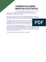 Conocimientos Sobre Herramientas Eléctricas
