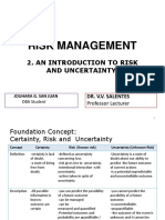 Risk Managment an Introduction to Risk and Uncertainty
