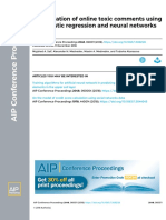 Classification of Online Toxic Comments Using the Logistic Regression and Neural Networks Models2018AIP Conference Proceedings