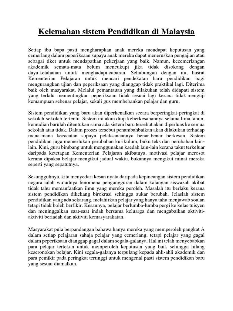 Kelemahan Sistem Pendidikan Di Malaysia