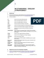Admissions Standards English Language Proficiency
