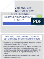 2.2 Analyze Situations That Show the Difference Between Opinion and Truth